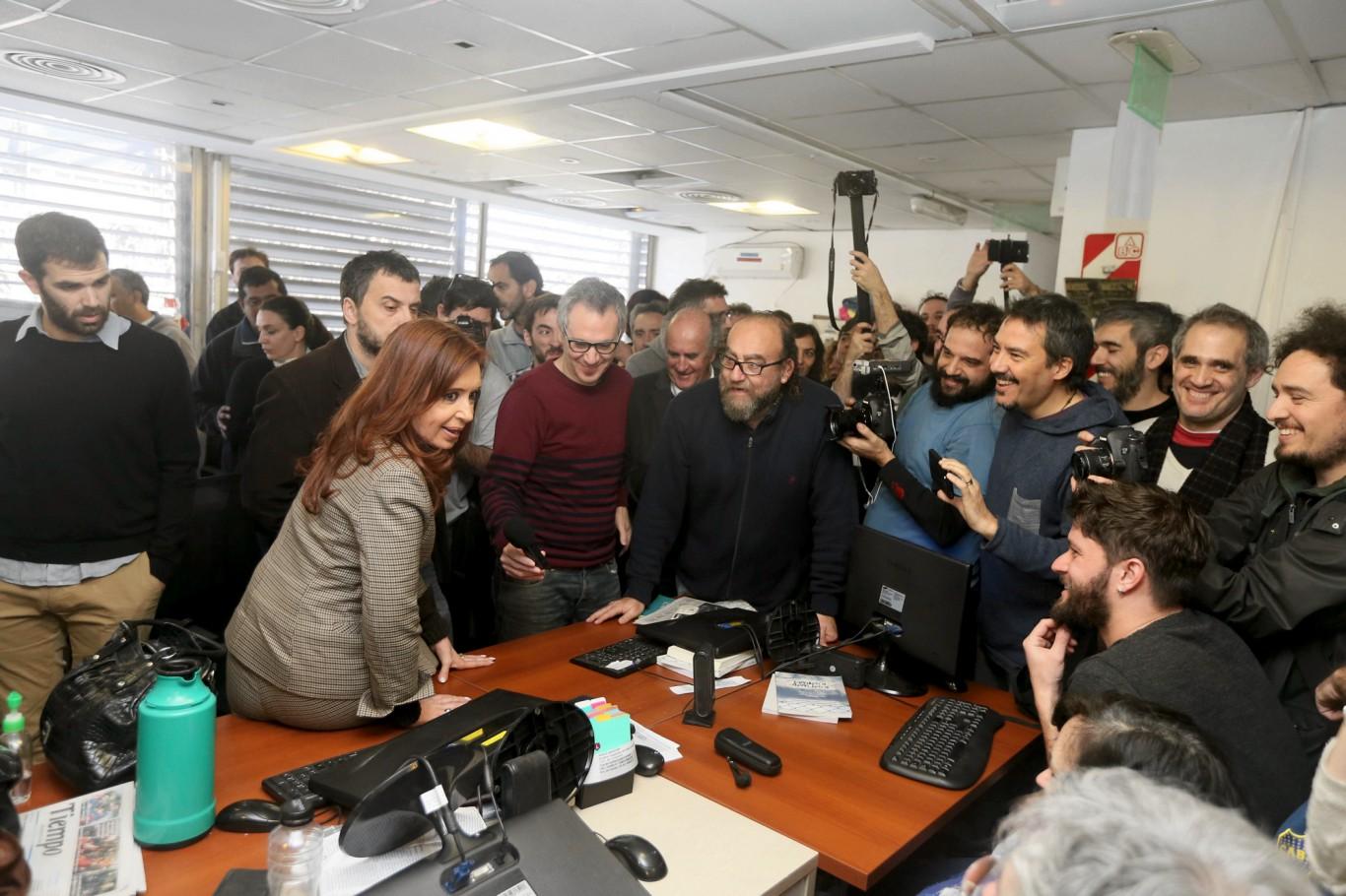 Cristina visitó Tiempo Argentino en solidaridad con sus trabajadores