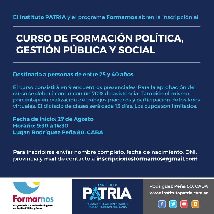 CUPO COMPLETO Curso de formación política, gestión pública y social