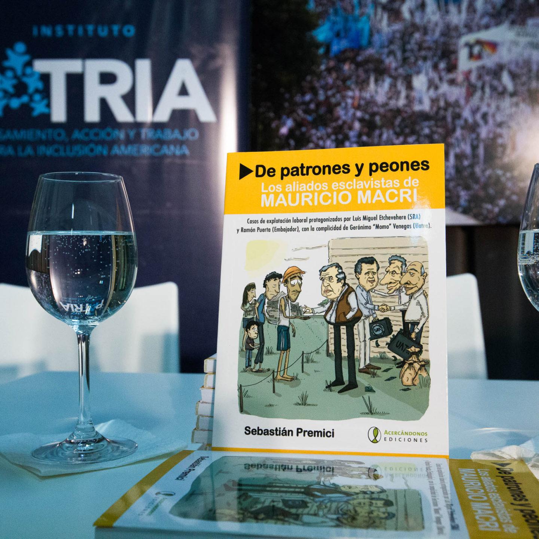 """Sebastián Premici presentó en el PATRIA su libro """"De patrones y peones: los aliados esclavistas de Mauricio Macri""""."""