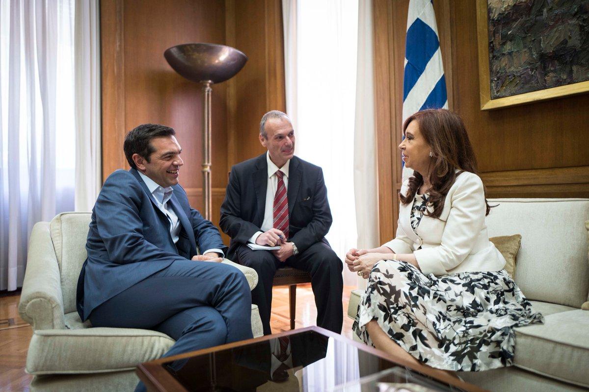CFK en Grecia: encuentro con Tsipras y Voutsis