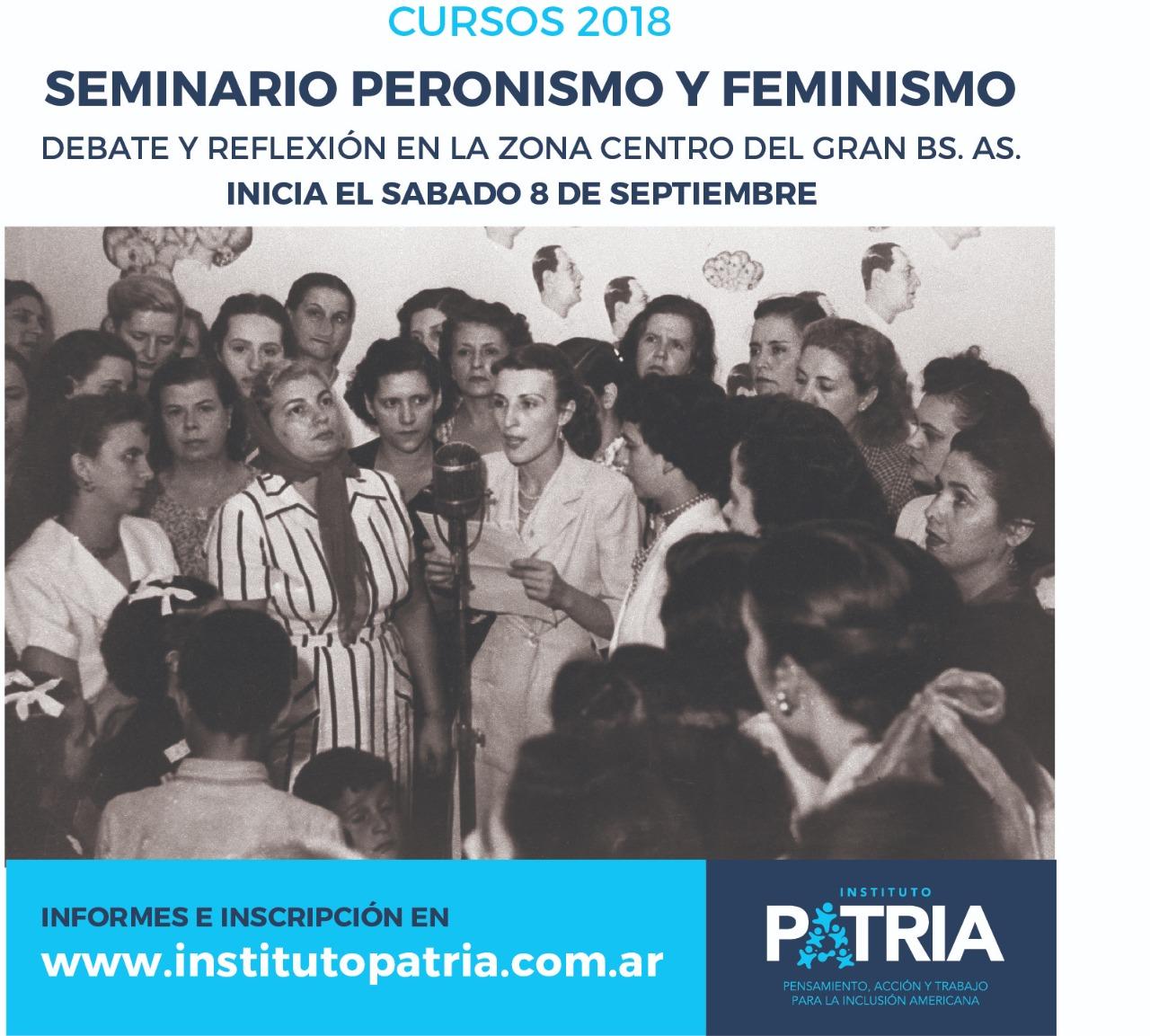 Seminario Peronismo y Feminismo. Debate y Reflexión en el Centro del Gran Buenos Aires. Abierta la inscripción