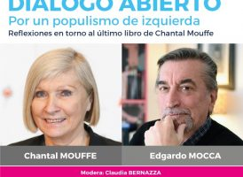 Chantal Mouffe con Edgardo Mocca en el Patria