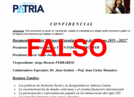 Es falso el supuesto documento confidencial del Instituto Patria