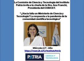 La presidenta del CONICET en el Instituto Patria