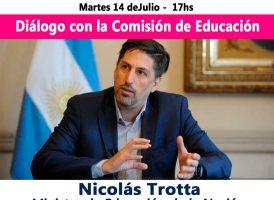 La escuela como territorio de reencuentro: Nicolás Trotta dialogará con la comisión de Educación